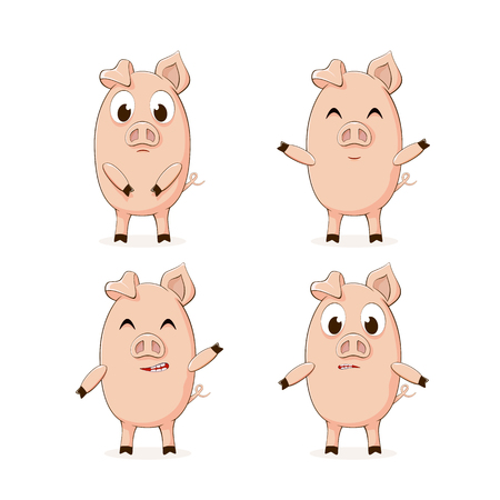 Set of little pink pigs isolated on white background, illustration.