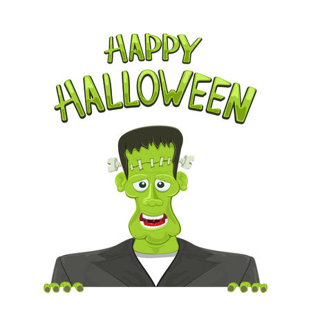 Frankensteins and text Happy Halloween isolated on white background, illustration.