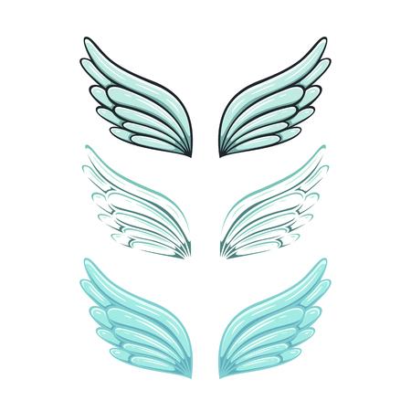 Set of wings isolated on white background, illustration.