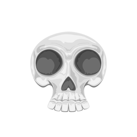 Cartoon skull isolated on white background, illustration.
