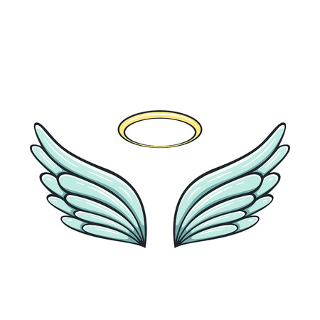 Angel wings and halo isolated on white background, illustration. Çizim