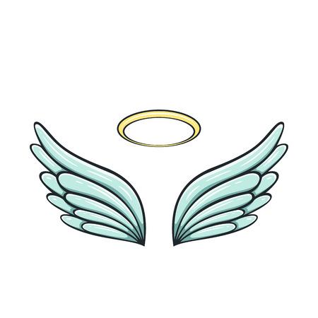 Engelenvleugels en halo geïsoleerd op een witte achtergrond, illustratie.