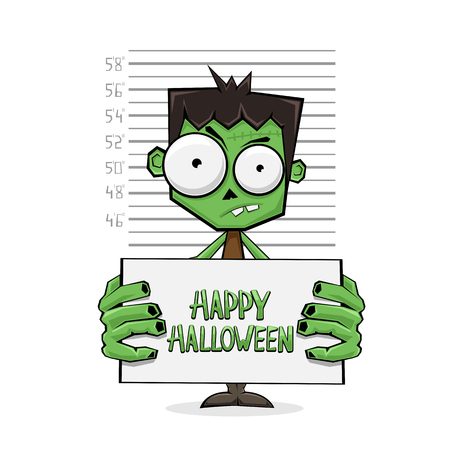 Suspect cartoon monster hold banner with text Happy Halloween and police lineup on white background, illustration.