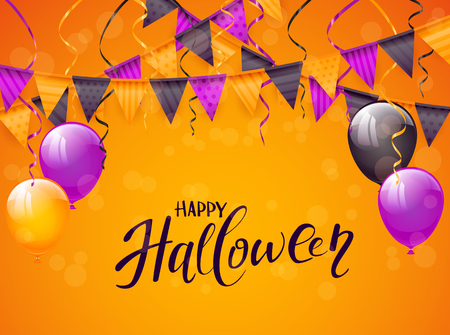 Text Happy Halloween on an orange background with balloons, pennants and streamers, illustration.