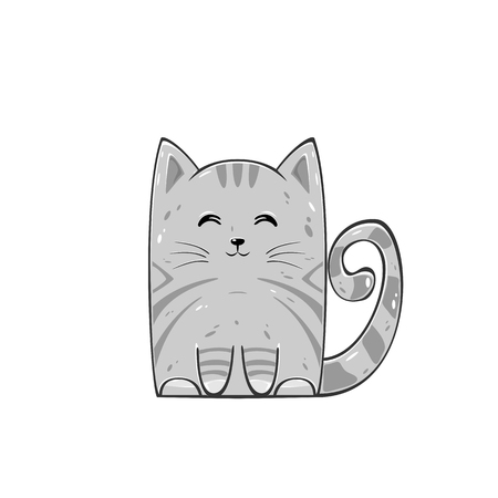 Cat isolated on white background. Cute gray kitten, illustration.
