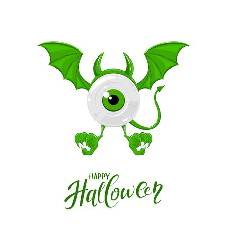 Green monster for Halloween with one eye, horns, wings and tail, isolated on white background, illustration.