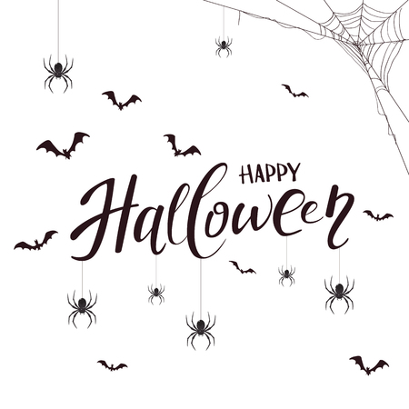 Lettering Happy Halloween with spiders, cobweb and bats on white background.