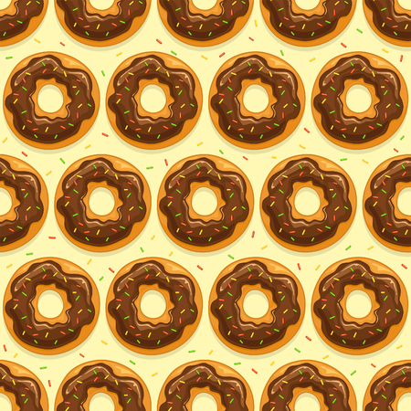 Seamless background with donuts with chocolate glaze and colorful sprinkles on yellow background, illustration.