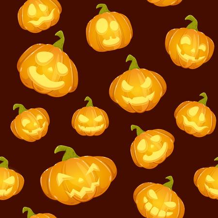 Dark seamless background with pumpkin lanterns for Halloween with smile, illustration.
