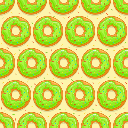 Seamless background with donuts with green glaze and colorful sprinkles on yellow background, illustration.