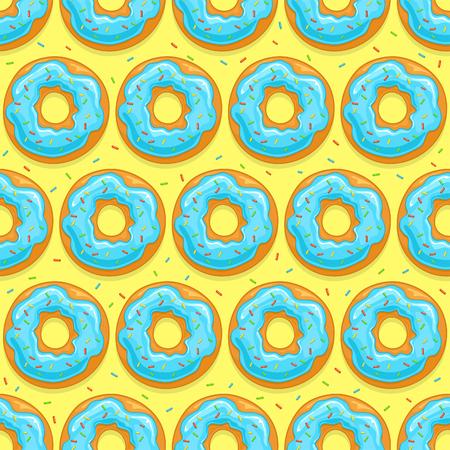 Bezszwowe tło z pączków z niebieską glazurą i kolorowe kropi na żółtym tle, ilustracja.