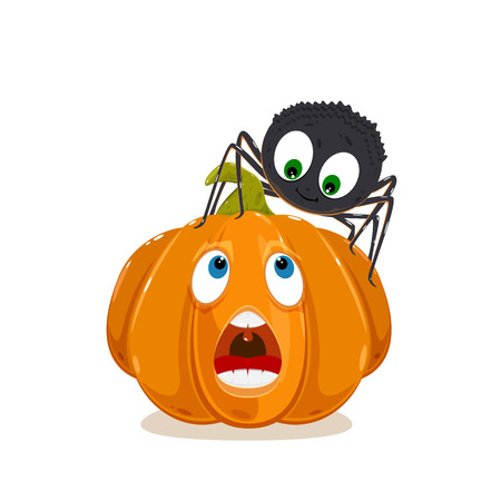 Cute spider with smile on the pumpkin for Halloween isolated on white background, illustration.