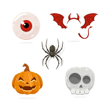 Set of icons for Halloween isolated on white background, illustration.