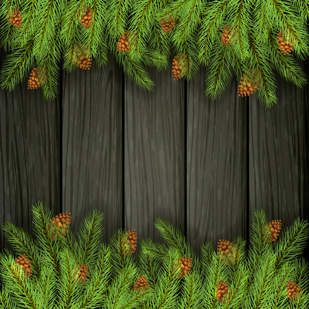 Holiday decorations on black wooden pattern. Christmas background and spruce branches with pine cones, illustration.