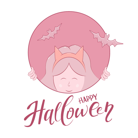 Girl with bats in round banner and text Happy Halloween, illustration. Illustration