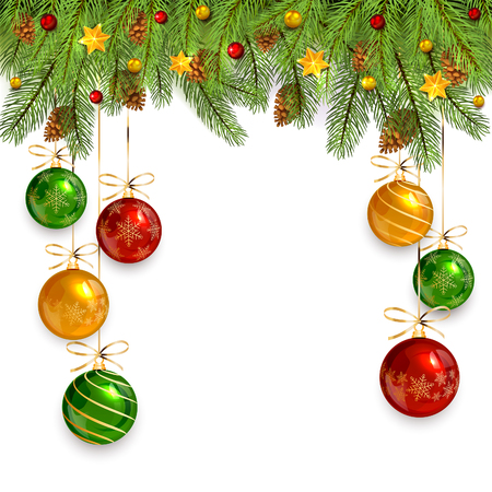 Decorations with Christmas balls and fir tree branches on white holiday background, illustration.