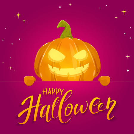 Jack o lantern with smile and lettering Happy Halloween on banner. Pink holiday background with pumpkin and stars, illustration.