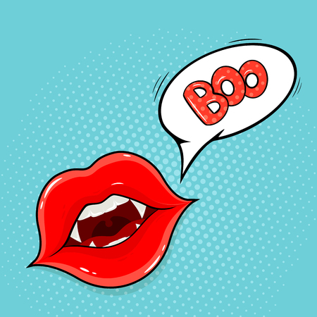 Pop art style. Vampire lips and lettering Boo in speech bubble, illustration. 矢量图像