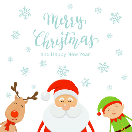 Lettering Merry Christmas and Happy New Year with falling snowflakes on white background. Happy Santa Claus with cute elf and reindeer, illustration.