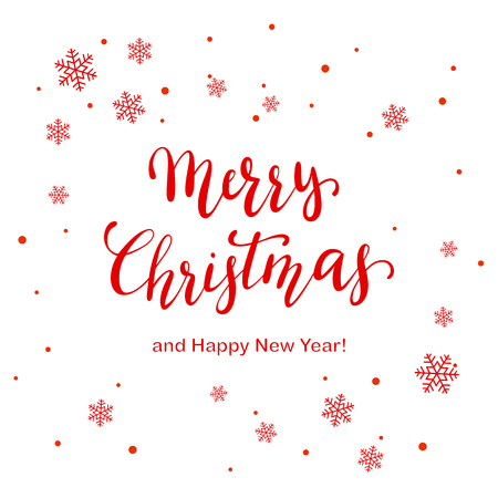 Red lettering Merry Christmas and Happy New Year with snowflakes and dots on white background, illustration.