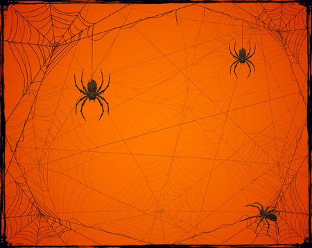 Orange Halloween background with spiders and cobwebs, illustration.