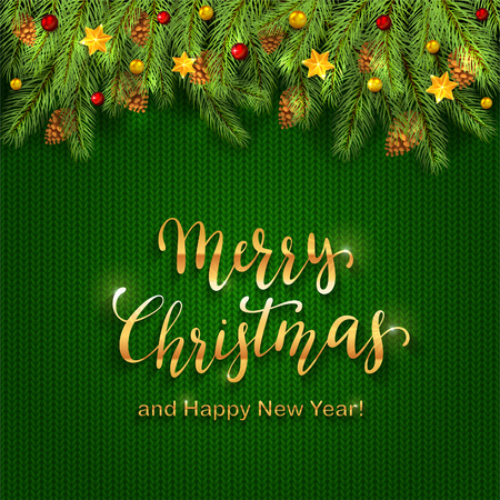 Decorations with Christmas stars, balls and fir tree branches on green knitted pattern. Golden lettering Merry Christmas and Happy New Year on holiday background, illustration. Vettoriali