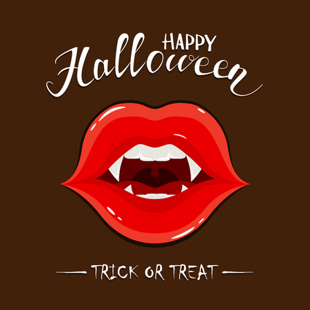 Vampire lips with fangs and lettering Happy Halloween on dark background Illustration