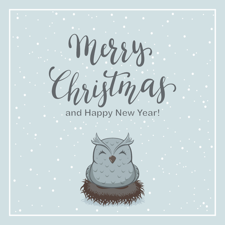 Lettering Merry Christmas on winter snowy background with owl in the nest, illustration.