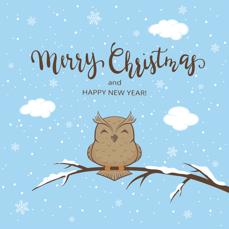 Lettering Merry Christmas on blue winter background with owl on branch with snow, illustration.