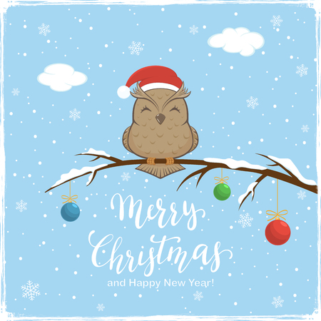 Owl with Santa's hat on branch with snow and colored Christmas balls. Lettering Merry Christmas and Happy New Year on blue winter background, illustration.