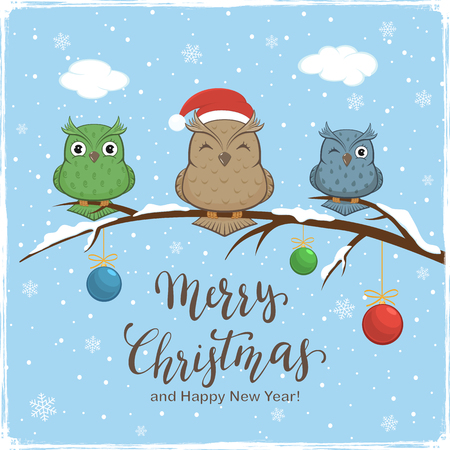 Three colorful owls with Santa's hat on branch with snow and colored Christmas balls. Lettering Merry Christmas and Happy New Year on blue winter background, illustration.
