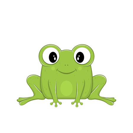 Cute green frog isolated on white background, illustration.