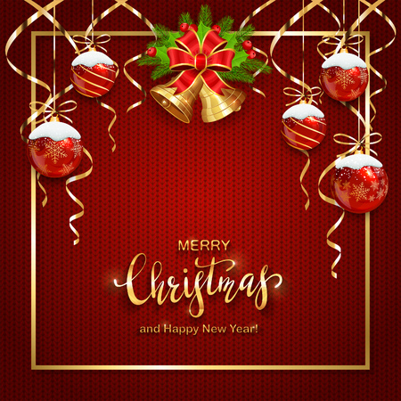 Red knitted background with holiday decoration. Christmas card with golden bells, holly berries, Christmas balls and streamers. Lettering Merry Christmas and Happy New Year, illustration.