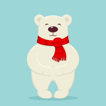 Polar bear with red scarf on blue background, illustration. Ilustracja