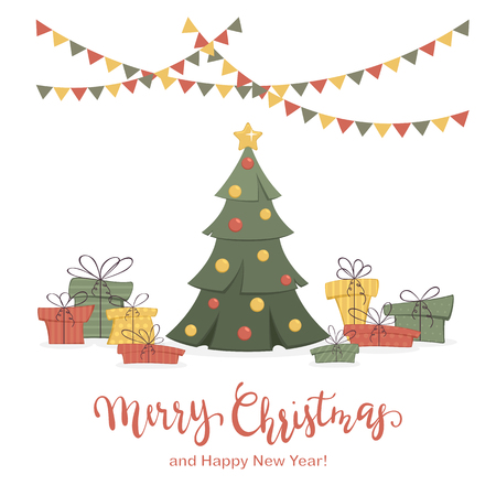 Holiday card. Decorated Christmas tree with colorful presents and pennants isolated on white background with lettering Merry Christmas and Happy New Year, illustration.