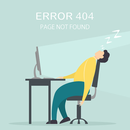 Man fell asleep at computer on workplace. Lettering Error 404, page not found, illustration.
