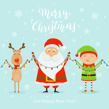 Santa with little elf and cute deer holding colorful christmas lights, isolated on blue background with snowflakes and lettering Merry Christmas and Happy New Year, illustration.