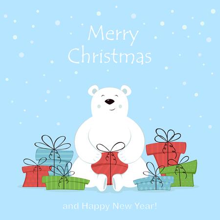 Tarjeta navideña. Oso polar y regalos coloridos aislados sobre fondo blanco. Letras rojas Feliz Navidad y Próspero Año Nuevo, ilustración. Ilustración de vector