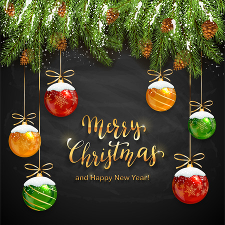 Fir tree branches on black chalkboard background and Christmas balls with snow. Golden lettering Merry Christmas and Happy New Year, illustration.