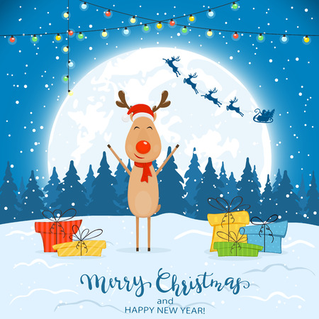 Happy reindeer with colorful Christmas lights and gifts. Text Merry Christmas and Happy New Year on winter background with falling snow, illustration. Illustration