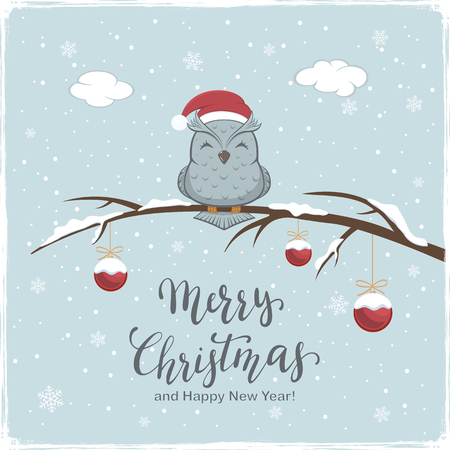 Owl with Santa's hat on branch with snow and red Christmas balls. Lettering Merry Christmas and Happy New Year on winter background, illustration. Stock Illustratie