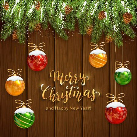 Fir tree branches on wooden background and Christmas balls with snow. Golden lettering Merry Christmas and Happy New Year, illustration.