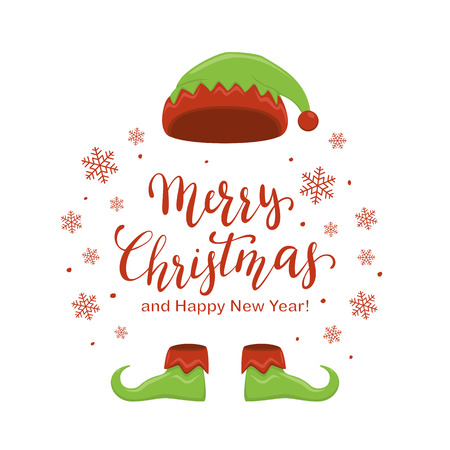 Green hat and shoes elf isolated on white background. Holiday costume and lettering Merry Christmas and Happy New Year with snowflakes and dots, illustration.