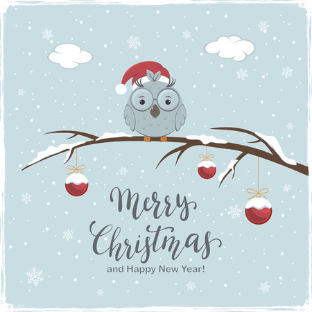 Little owl with Santa's hat on branch with snow and red Christmas balls. Lettering Merry Christmas and Happy New Year on winter background, illustration.