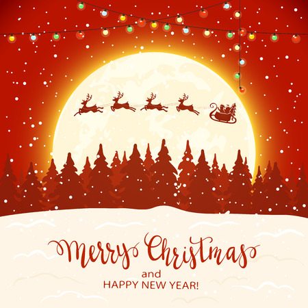 Santa Claus on a sleigh with deer flying over the forest. Lettering Merry Christmas and Happy New Year on red snowy background, illustration.
