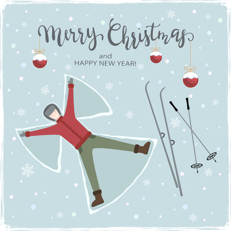 The boy makes a snow angel. Lettering Merry Christmas with balls and ski on snowy background, illustration.