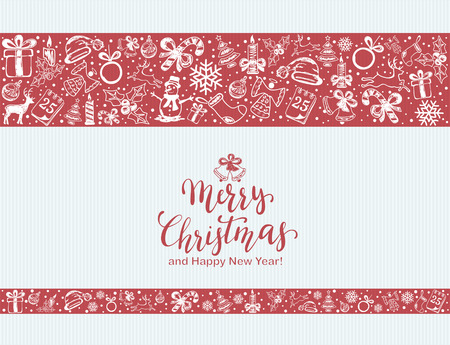 Merry Christmas with decorative elements on a red and blue background. Holiday card with lettering and decoration, illustration. Illustration