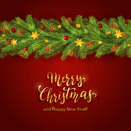 Holiday decorations with Christmas balls, stars and fir tree branches on red knitting background. Golden lettering Merry Christmas and Happy New Year, illustration.