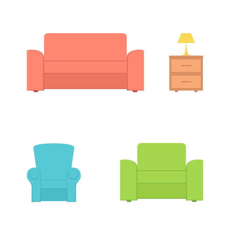 Set of furnishings isolated on white background, illustration.