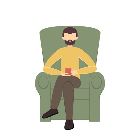 Man with coffee cup in armchair isolated on white background, illustration.